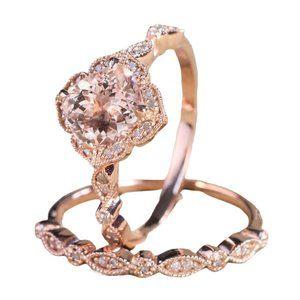 2.8CT Morganite Diamond Rose Gold 2PC Wedding Ring